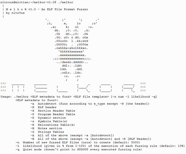 Melkor (ELF fuzzer) presented at #BHUSA Arsenal [SRC: http://t.co/LudeQGWODI] [Slides: http://t.co/jQn0jvLahZ] http://t.co/jjwHcRmaMb