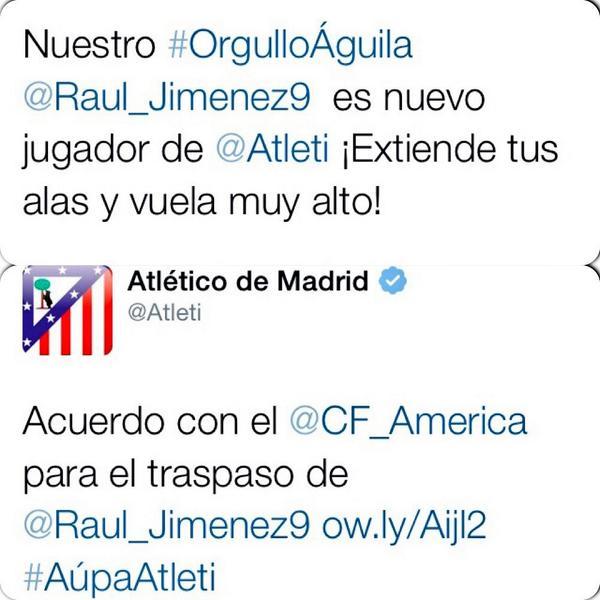 Valeria Marín (@ValMarinR): Así confirmó @CF_America y @Atleti el fichaje del mexicano @Raul_Jimenez9 como jugador colchonero http://t.co/5yoE9AP012