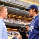 RT @dallascowboys: Coach Garrett at tonights @Dodgers game visiting with @ClaytonKersh22 http://t.co/LWqoNuMHcA