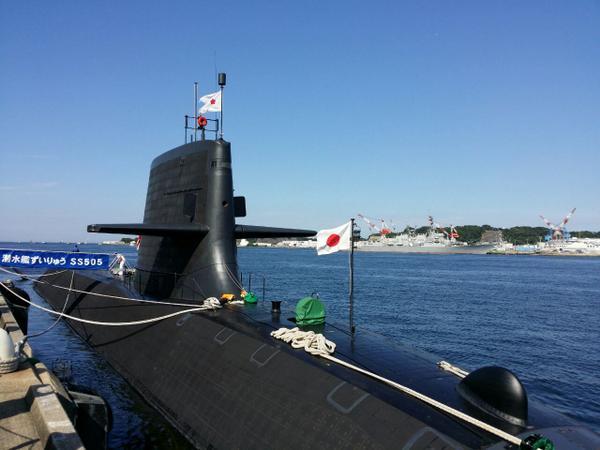 潜水艦ずいりゅう。世界一の練度とも言われる海自の潜水艦隊頼もしい。 http://t.co/EIMKyl0Ozv