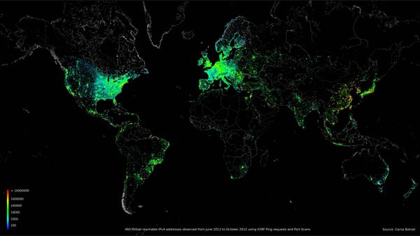 World map of internet connected devices (Oct. '12) // Where are these internet people in the world? http://t.co/ucVlP0rxrg