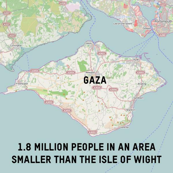 Imagine 1.8m people in a space this size, with no water, no power & no escape. RT to join our call for #ceasefirenow. http://t.co/5pIMIFpRUt