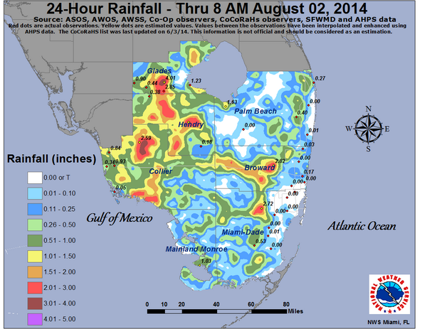 Florida Rainfall Map.Here Is The 24 Hour South Florida Rainfall Map For The Period Ending