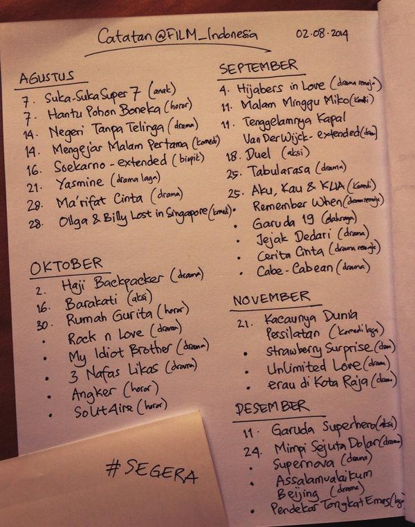Inilah daftar film Indonesia yg akan tayang sampai akhir tahun 2014! | Bantu RiTwit ya