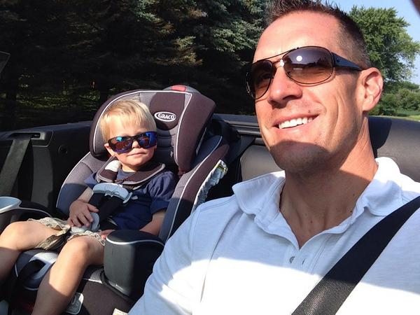"""Heading to Church w my boy...  I asked what car he wanted to take and he yelled """"JAGUAR DADDY!!!""""  Good call son... http://t.co/tJrEIU1Q0v"""
