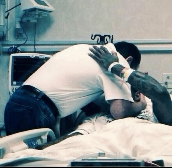 Coach K right after Paul George's surgery. What a moment. http://t.co/6mp5cfw9V6