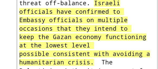 """@wikileaks: Israel secretly told US of its plan to destroy #Gaza's economy https://t.co/damMkyHLGz http://t.co/Rwo7Qp6MIR"""