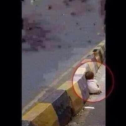 This is the 'terrorist' Israel is 'protecting' itself from... A child seeking safety... #GazaUnderAttack http://t.co/uosLbSE1j5