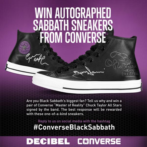 "@BlackSabbath biggest fan contest! Win autographed @Converse ""Master of Reality"" Chucks. Reply #ConverseBlackSabbath http://t.co/xZ3yl8eGZj"