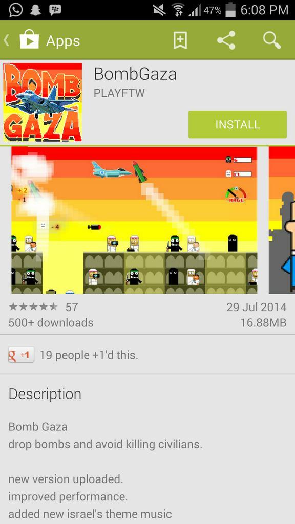 Please find these games on #google #playstore & flag as inappropriate http://t.co/hLp79BsQfu #GazaUnderAttack #freepalestine #islam #israel