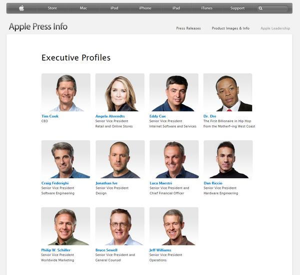 Nice to see Dr. Dre on the Apple /bios site. ;) http://t.co/BjNL6yyM2D