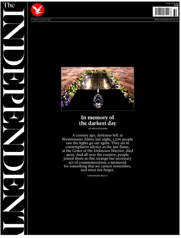 """Tuesday's Independent front page - """"In memory of the darkest day"""" #tomorrowspaperstoday #bbcpapers #ww1centenary http://t.co/Vyv7Sd3hzC"""