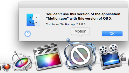 Seems like Apple drops Motion 4 support with Yosemite OS X. FCP7 can't be launched on my system either. #FCPX #Motion http://t.co/2XYJSaTPlB