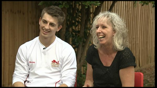 Susie Fowler-Watt (@susiefowlerwatt): Max and mum. I talk to gymnast @maxwhitlock1 and his mother following his 5 #CWG2014 medals. @BBCLookEast 1330/1830. http://t.co/Y77Q7cjTqM
