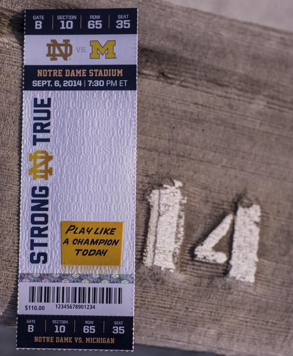 See the embossing on the latest @NDFootball ticket for the Michigan game? Can you tell us who gave that speech? http://t.co/2fwJg77TvX