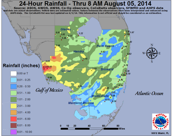 Florida Rainfall Map.Here Is The 24 Hour South Florida Rainfall Map Ending At 8 Am This