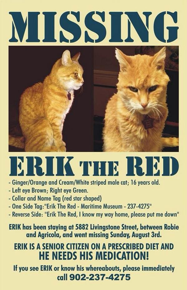 Our #Halifax waterfront friend @ns_mma Erik the Red is missing. If you see him please call 237-4275. Requires meds. http://t.co/4imgJJ7Mb0