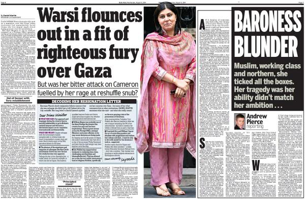 "Warsi ""flounces out""...Can u imagine same headline about a male minister resigning over foreign policy.No? Quite. http://t.co/MzgRzgg67l"