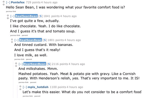 Sean Bean having trouble choosing a favourite comfort food: http://t.co/734XX7oO0D