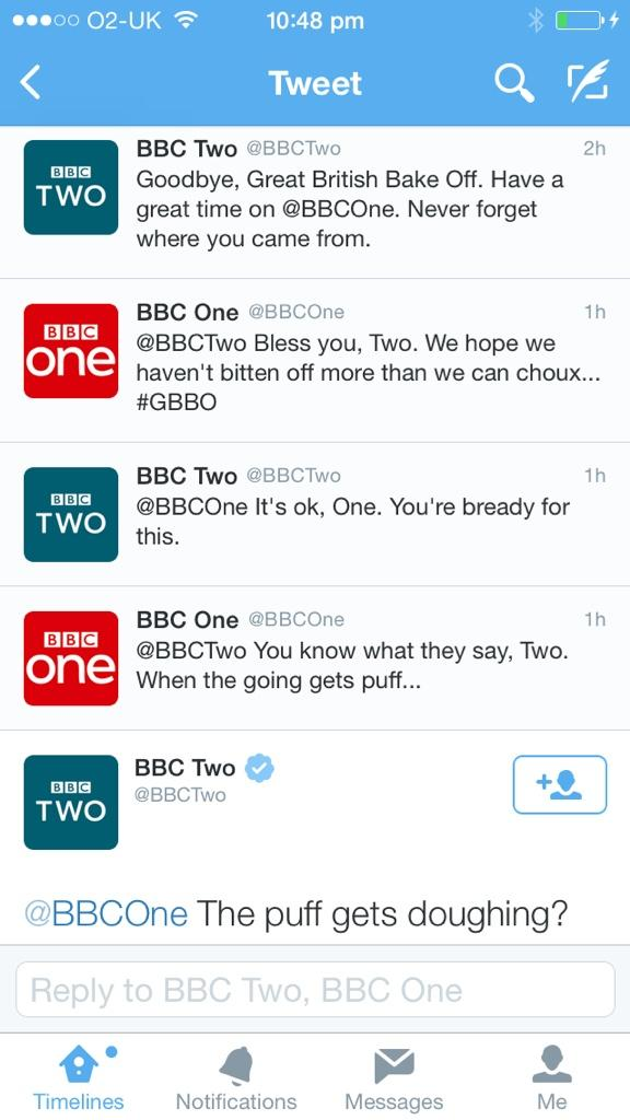 This exchange between @BBCOne & @BBCTwo about #GBBO is absolutely genius!! Well done #BBC social media teams. http://t.co/6ACDBgJxy6