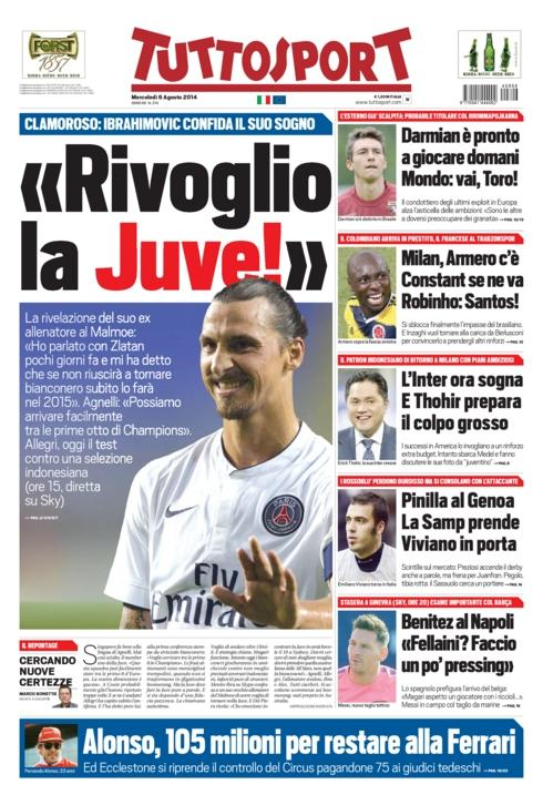 PSGs Zlatan Ibrahimovic says he wants Juventus return in a Skype call to Swedish coach [Tuttosport]