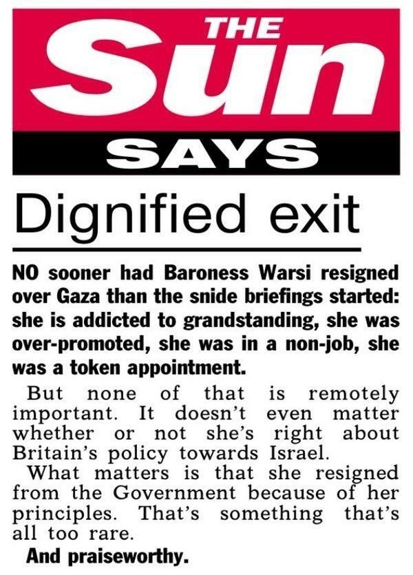 The 'Sun Speaks on @SayeedaWarsi resignation. Not what I expected. http://t.co/MDX09CB13F