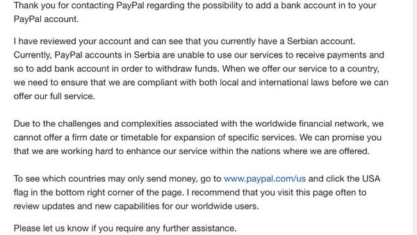 "NBS da objasni PayPalovu rečenicu: ""Due to challenges and complexities..."" ako ume. Zašto smo odsečeni od sveta? http://t.co/FjB4w9iUAV"