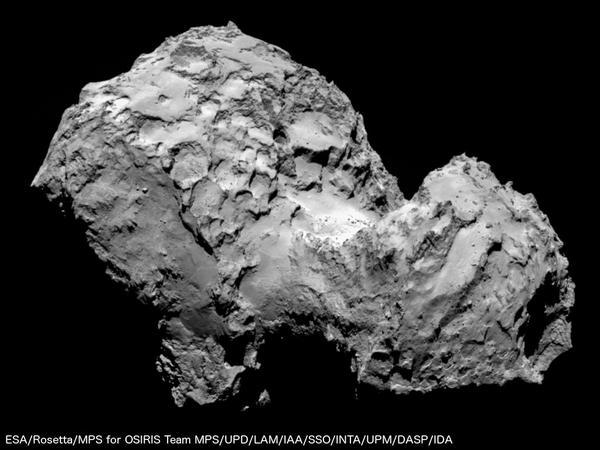 Preciosa imagen del cometa #67P desde @ESA_Rosetta  – Ya hemos llegado!! http://t.co/XQddz0hce9