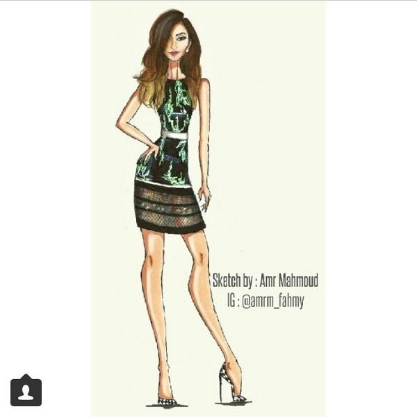 Love this rad little drawing of @ninadobrev's JMendel look, right down to the @BiondaCastana shoes! By @amrm_fahmy http://t.co/lYRrauZrL2