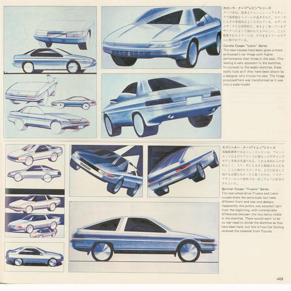Pic of the Day #460 Development sketches of the Toyota AE86, originally appearing in Car Styling magazine #86day http://t.co/O772R9BVB0
