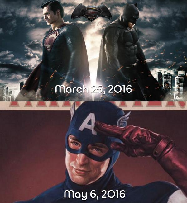 BREAKING! #BatmanvSuperman: Dawn of Justice moves to March 25, 2016! #CaptainAmerica3 stays put on May 6, 2016. http://t.co/CYPIkQbObv