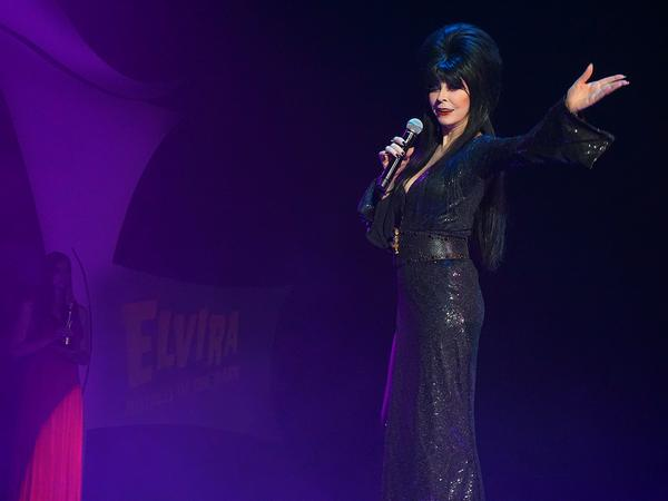 Calvin Lee (@mayhemstudios): Oh Look! @TheRealElvira makes an appearance at #ScaryFarm press conference. http://t.co/jvsdRHobcy