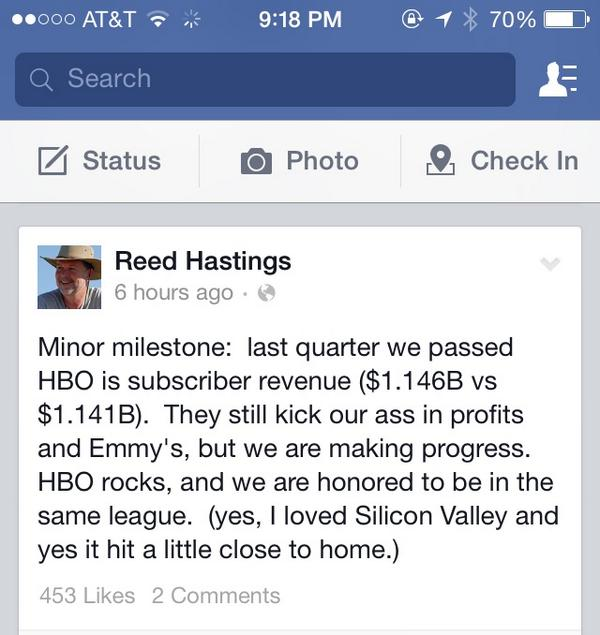 Look what @reedhastings posted publicly on his Facebook acct today - @Netflix surpassing HBO in sub revenues $NFLX http://t.co/mzp47Fr1jf