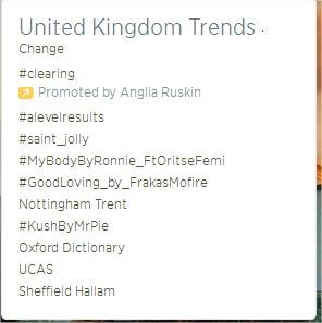 'Nottingham Trent' is trending in the United Kingdom! Everyone is excited to come to #NTU http://t.co/X7CnIoafsn