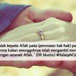 RT @TeladanRasul: wahai suami,bertaqwalah kepada Allah dalam penunaian hak-hak wanita ~Buku #halaqahcinta http://t.co/QVQKQDrJH1