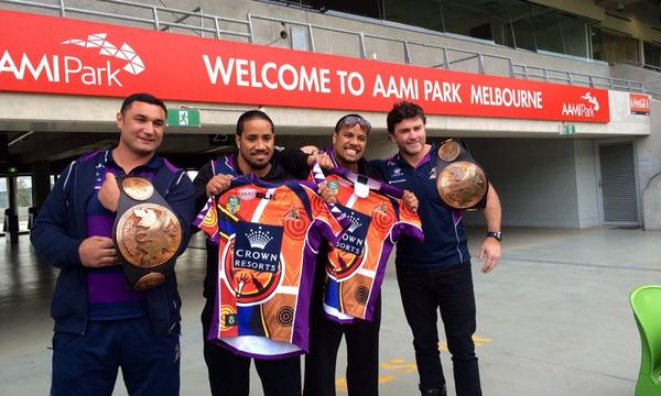 Great to have @WWEUsos here at @AAMIPark checking out Storm HQ! Good luck tonight! #purplepride http://t.co/btinZOIj3h