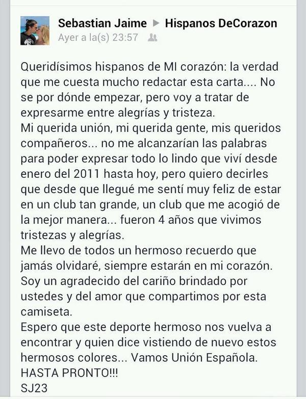 Carta de despedida de Sebastián Jaime http://t.co/jzs2svk9Oy