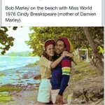 #BobMarley on the beach with Cindy Breakspeare (mother of Damien) http://t.co/wNe45qcp6Y / #Rastafari #Rasta