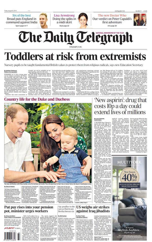 """Wow. Did no-one at the Telegraph notice the main headline & the main photo and go """"er....""""?! via @suttonnick http://t.co/xUOvYtvXcx"""