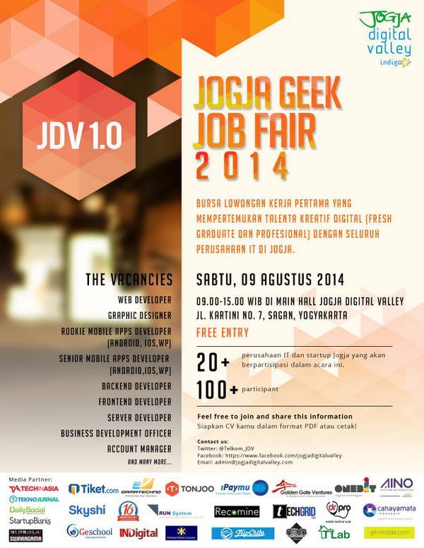 Yang tinggal di Jogja dan ingin cari kerja, bisa datang ke event ini. Keren nih untuk para geek yang ingin move on http://t.co/5cOqAYXQyY