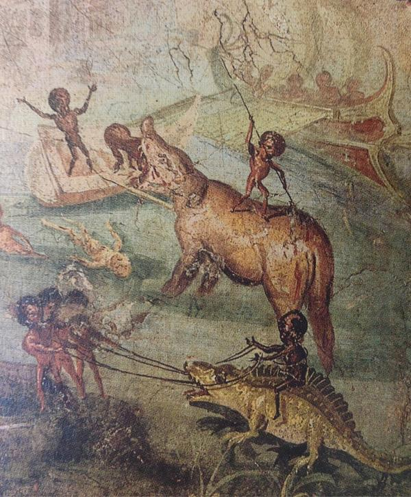 @holland_tom since you may have missed fresco of the ejaculating penis boat, here is a Pygmy, riding a dino #Pompeii http://t.co/lntbnLsS8g