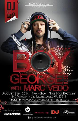 Who's joining me and @BoyGeorge tonight in Richmond, USA for a night of deepness and all things house music? http://t.co/viuJNbb4Ao