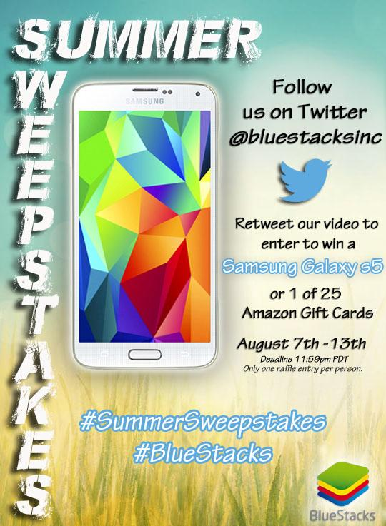 Remember to retweet our video to enter to win a Samsung Galaxy s5 or Amazon gift card! #SummerSweepstakes #BlueStacks http://t.co/ASyG4rGrxJ