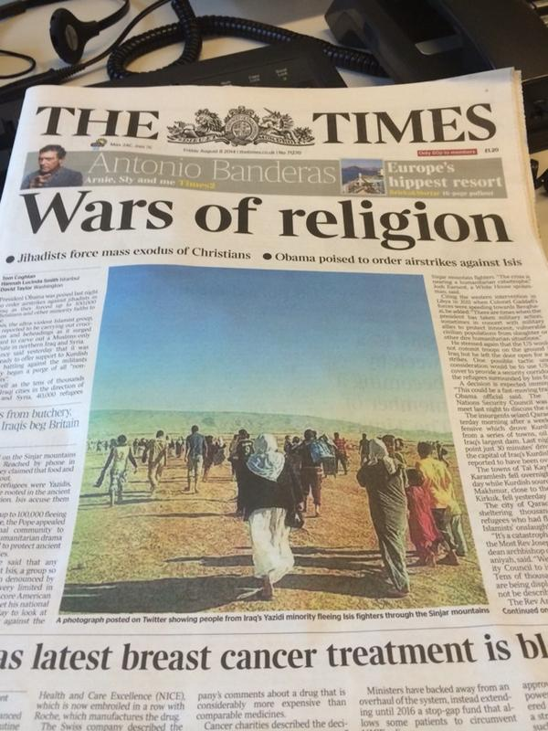 The Times headline today on #Isis taking more ground and minorities fleeing in #Iraq http://t.co/3GKQkE5aRZ
