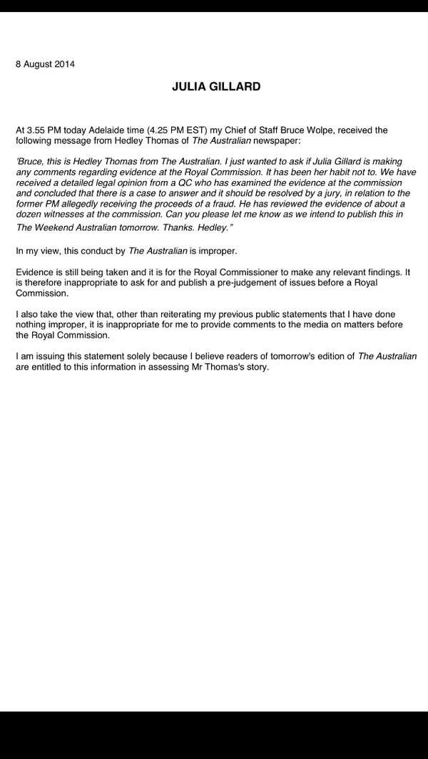 My statement about tomorrow's edition of The Australian - JG http://t.co/MO6Keqp6jP