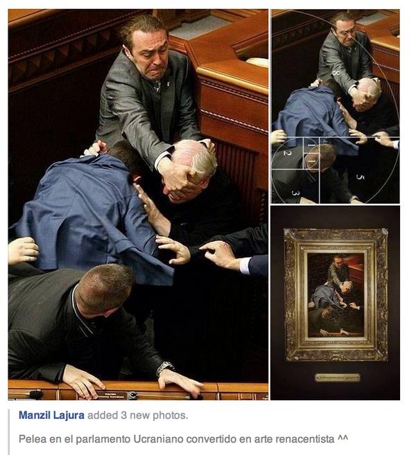 カラヴァッジオですな RT @RusEmbassyJ: イタリアのルネサンスの有名な美術作品の構図に負けないぐらい上手な写真。#ウクライナ 最高会議(議会)で議員らが殴り合いの乱闘をしている場面。 http://t.co/gV0x0mpmQ3