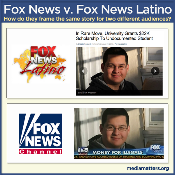 WOW RT @mmfa: How Fox frames an immigration story for two different audiences: http://t.co/z2zWM0khk9