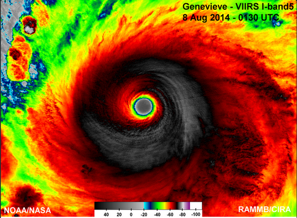 Spectacular satellite image of Super Typhoon #Genevieve from VIIRS. http://t.co/fSEmZxCobp