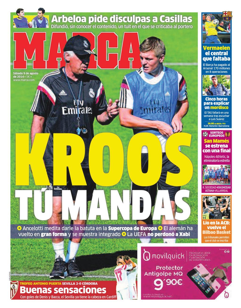 #LaPortada 'Kroos tú mandas' http://t.co/Nt3snavrG5