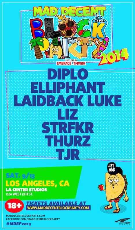September 13th-- join us and @diplo at @maddecent Block Party! #MDBP2014 http://t.co/tJRZSkUxH4